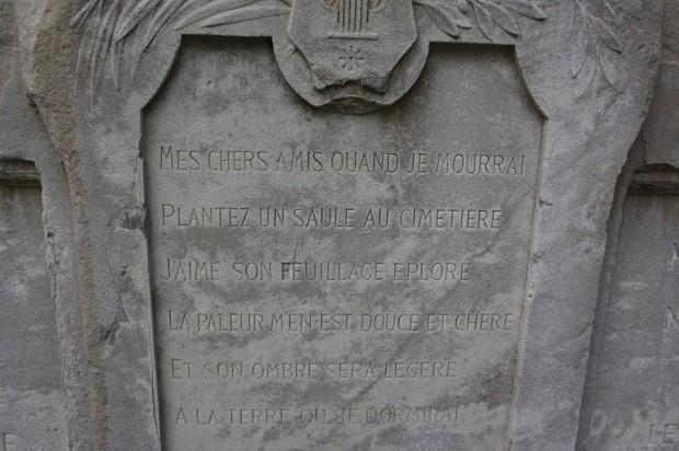 Texte écrit par Alfred de Musset avant sa mort qu'il voulait voir figurer sur sa tombe