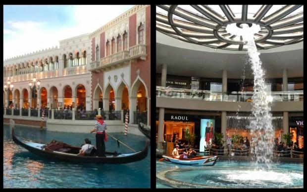 A gauche : Venetian (Las Vegas) A droite : Marina Bay Sands (Singapour)