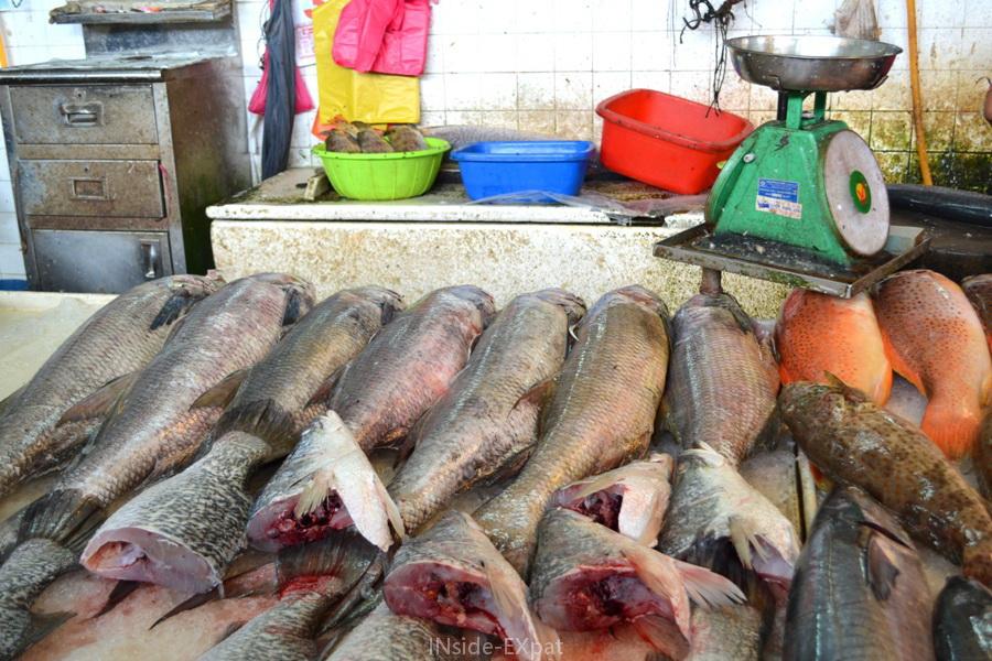Etalage au grand marché de poissons de Pontian