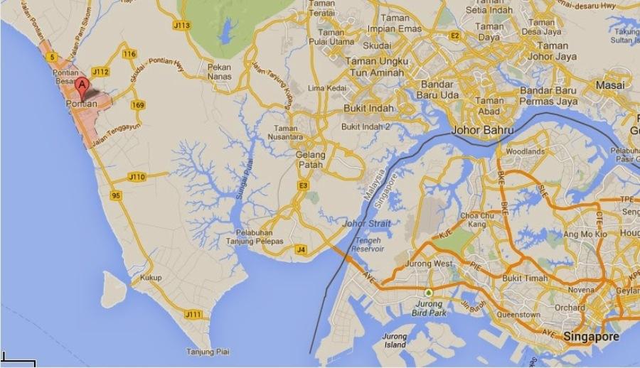 Carte du sud de la Malaisie indiquant l'emplacement de Pontian
