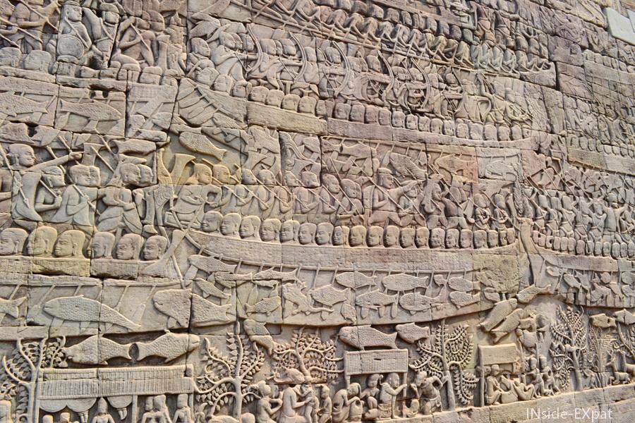 Bas-relief de Bayon à Angkor
