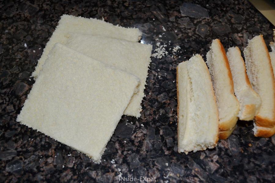 Tranches de pain de mie sans les rebords