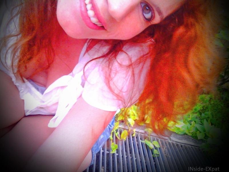 Cheveux roux : effet vignettage cercle noir