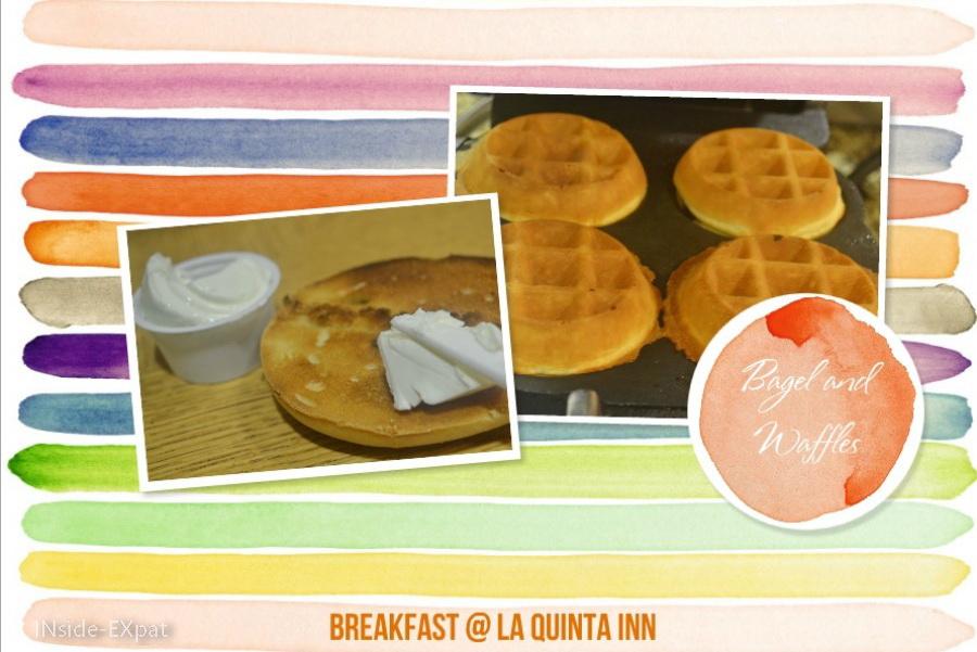 gaufres et bagel pour le petit déjeuner