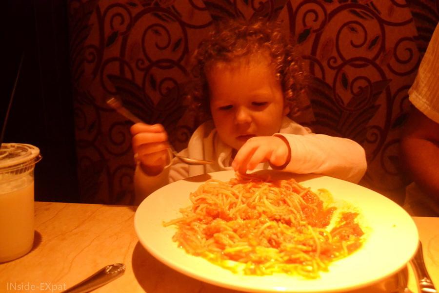 Une portion de spaghetti... énorme!