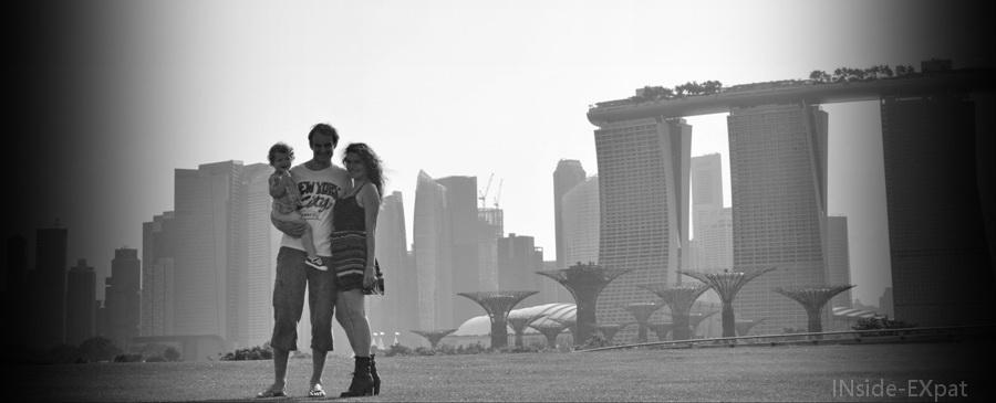 Photo de famille à Marina Barrage, Singapour