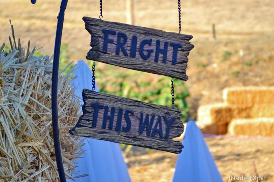 """panneau en bois """"fright this way"""""""