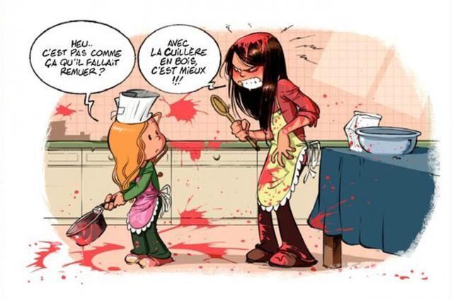 BD humoristique sur la cuisine avec un enfant