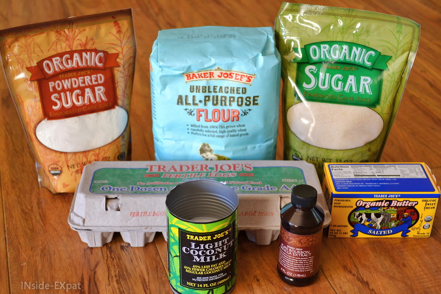 Ingrédients pour muffins vanille-coco