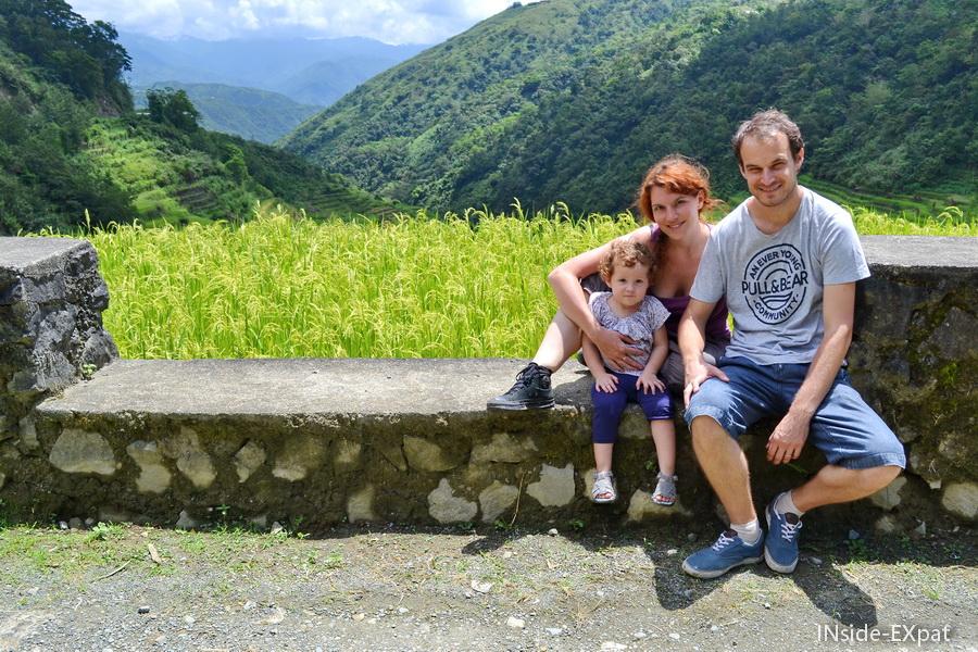 Vue sur les montagnes et les rizières en terrasse