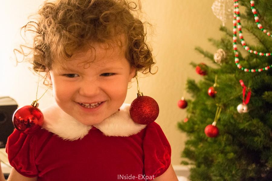 Les boules de Noël-boucles d'oreilles