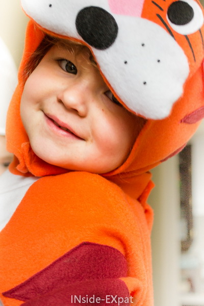 Mimi déguisée en tigre