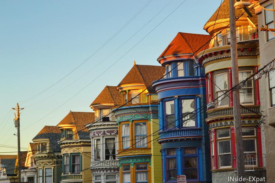 Maisons victoriennes dans le quartier de Haight-Ashbury, SF, CA