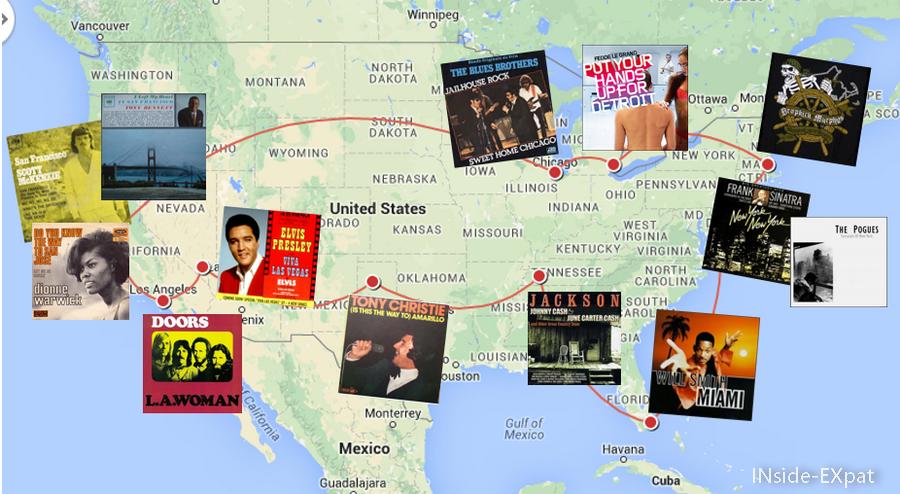 Carte du road trip musical aux Etats-Unis