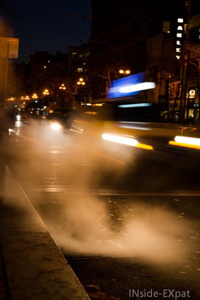 Taxi dans la vapeur