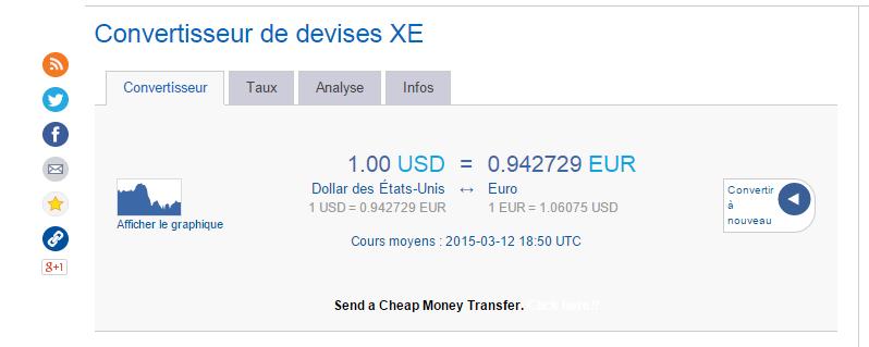 taux de change dollar-euro