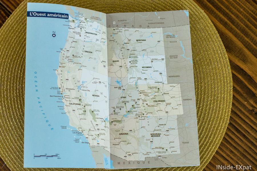 Carte de l'Ouest Américain