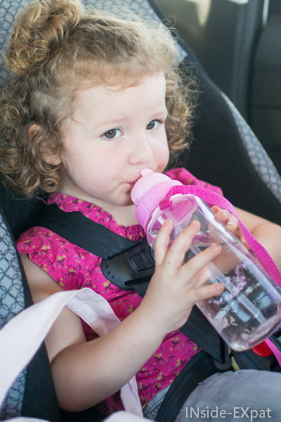 Mimi boit en voiture