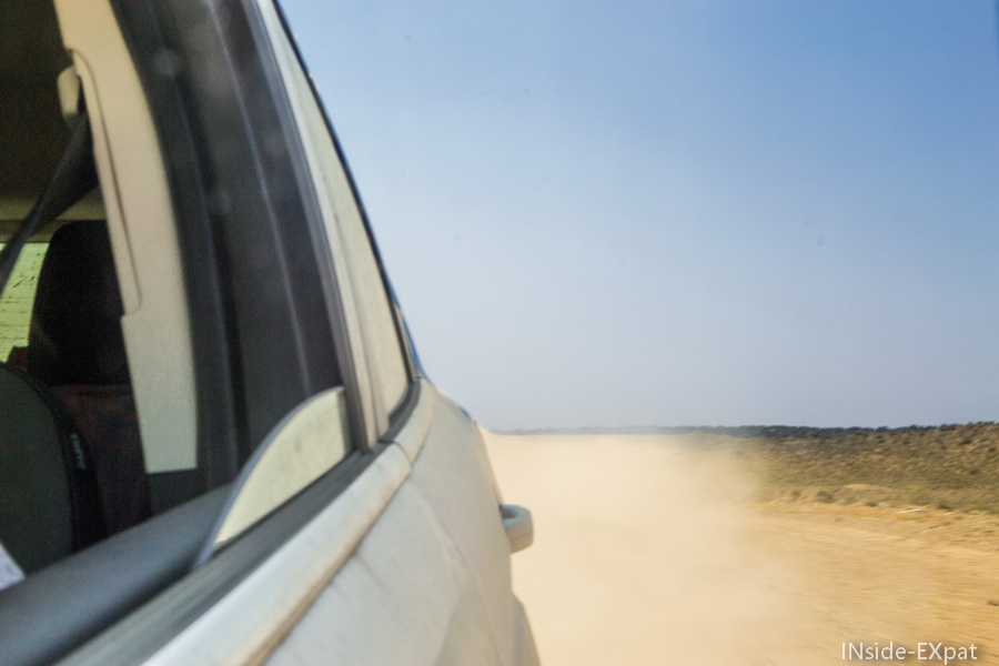 Dust on unpaved road