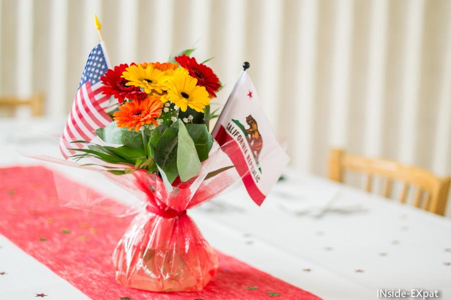 Les bouquets avec drapeaux USA et Californie
