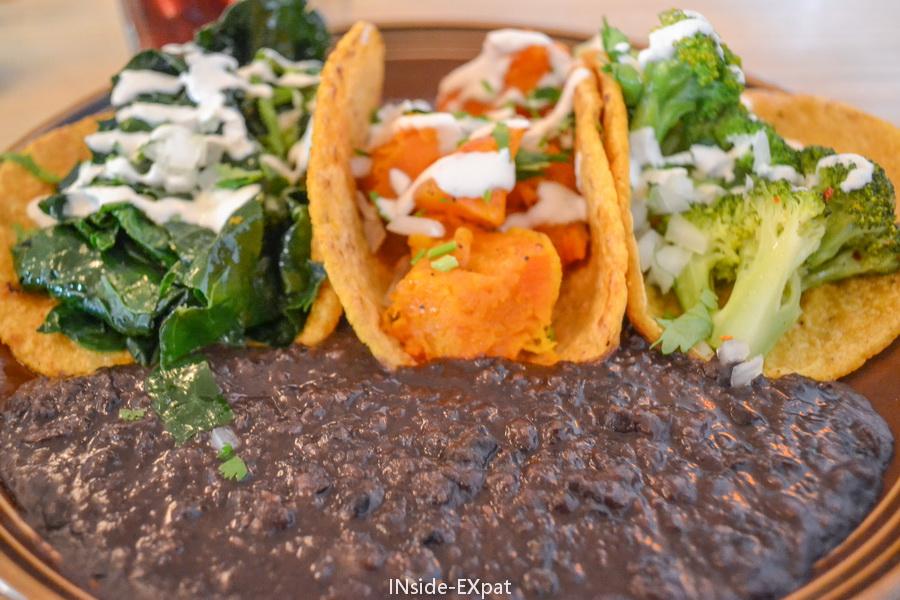 Trio de tacos : kale-patate douce-broccoli