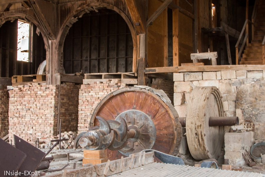 A l'interieur du moulin broyeur