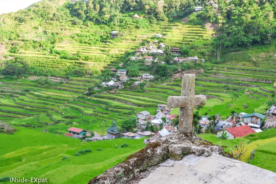 Vue en hauteur sur le village de Batad
