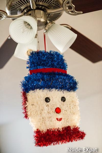 tete de bonhomme de neige en guirlande