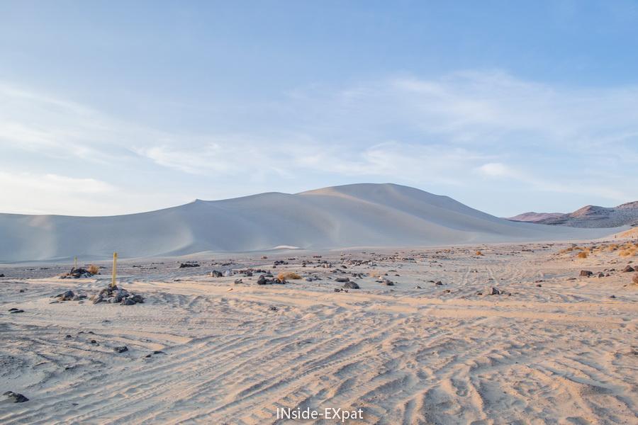 traces de pneus a proximité de la Sand Mountain