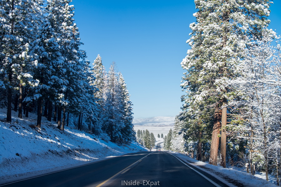 route - neige - californie