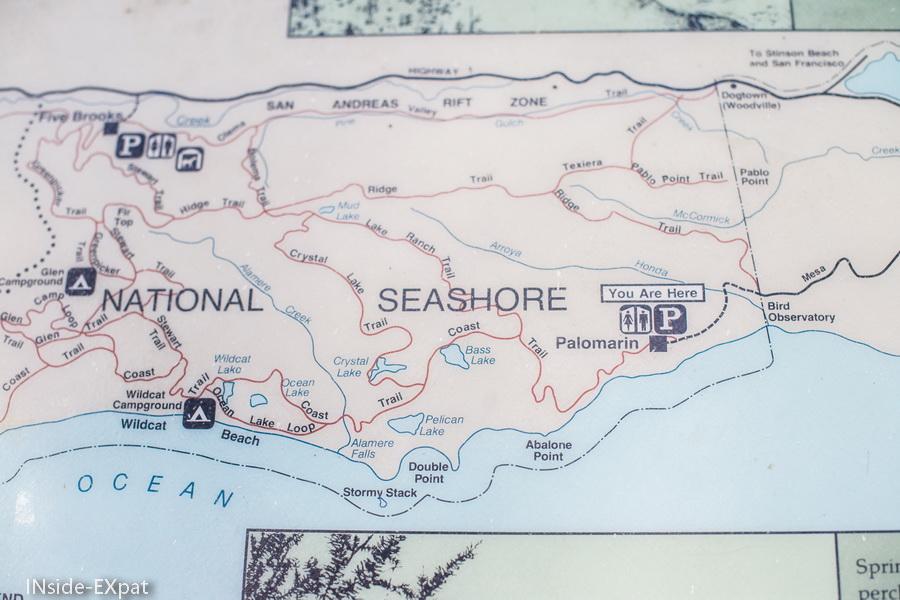 Carte Point Reyes National Seashore - Palomarin Trailhead