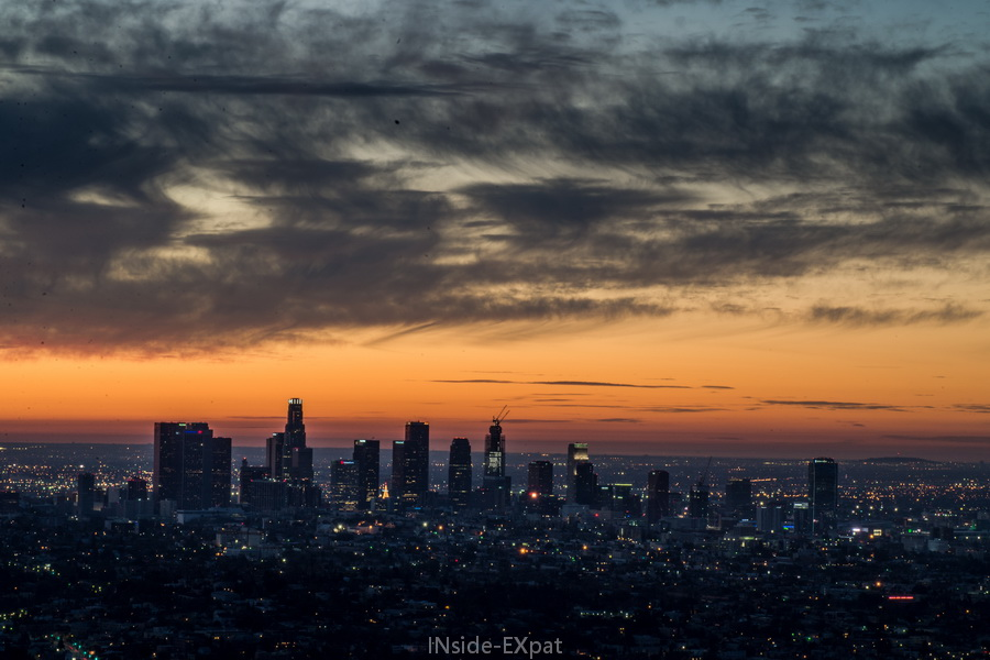 LA skyline - cloudy sunrise