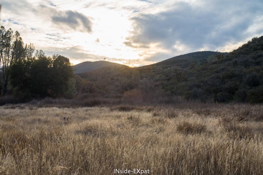 Coucher du soleil sur la fin du trail