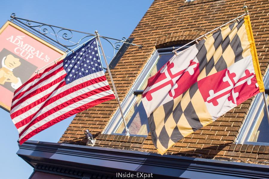 Drapeaux USA et Maryland