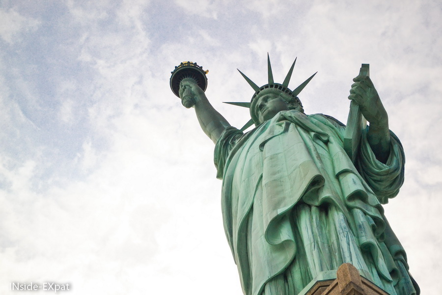 Miss Liberty and cloudy sky